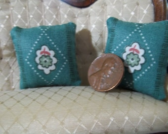 Set of 2 green with flower dollhouse pillows