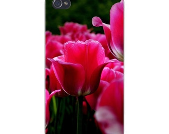 Apple iPhone Custom Case White Plastic Snap on - Beautiful Pink Rose Flower Blooming in Garden 6142