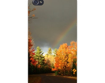 Apple iPhone Custom Case White Plastic Snap on - Street Road in Forest w/ Rainbow in Sky 7369