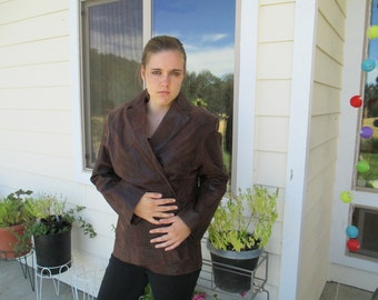 """Jackets, Blazers, Cute Leather Jacket by """"Excelled"""" with Snake/Alligator Pattern & Full Lining - Size X-Large - Stylish Blazer!"""