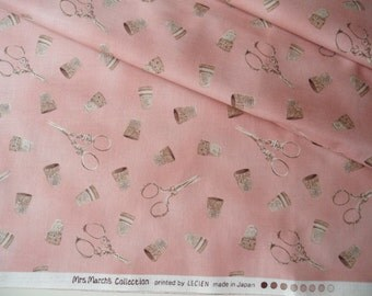 "Fat Quarter of Lecien Mrs. March's Collection Sewing Scissors and Thimbles Fabric in Antique Pink. Approx. 18"" x 22"" Made in Japan."