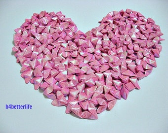 Lot of 365pcs Medium Size Velvet Pink 3D Origami Hearts 'LOVE'. (RS paper series). #FOH-117.