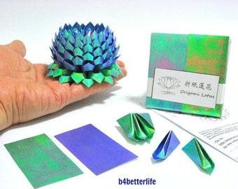 Pack Of 200 sheets Dark Blue Color DIY Origami Lotus Paper Folding Kit for Making 2pcs of Medium Size Lotus. (TX Paper Series). #LPK-48.
