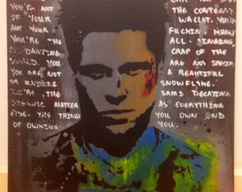 Fight Club Tyler Durden Canvas. Actual Artwork not a Print!!