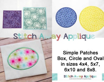 Simple Shape Applique Patches, Circle, Oval, Square