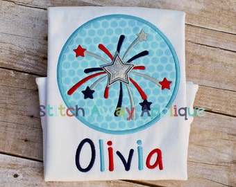 Patriotic Starburst Circle Patch Machine Applique Design