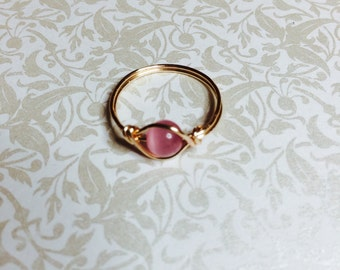 Pink tiger eye wire wrapped ring