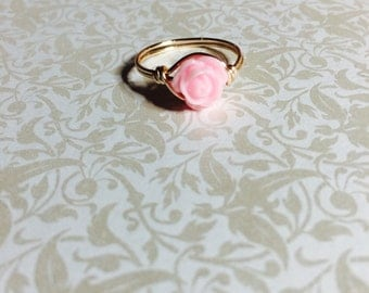 Pink rose wire wrapped ring