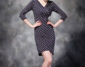 014.Plus Size Fashion Heartthrob Mini Dress in Black Polka Dot With Rhinestones Ladies Club Wear Black Dress