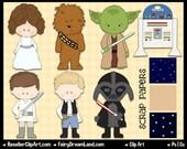 Star Wars Clip Art - Galaxy Commercial Use Digital Graphic Image Png Clipart - Instant Download - Dark Vader Princess Leia Luke Skywalker
