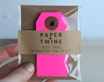 10 Neon Pink Gift Tags