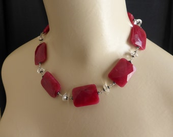 Agati agate incredible deep red/pink necklace