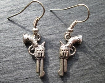 Silver Revolver Charm Earrings