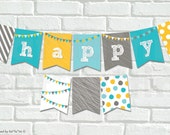 INSTANT DOWNLOAD Modern Flags Scribbles Happy 1st Birthday Bunting Banner Aqua Blue First Birthday Fun Party Decoration For Kids Boys PDF