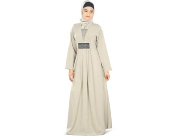 MyBatua All Time Favourite Abaya with Elegant Beadwork   AY-329   Grey Color   Muslim Dress   Islamic Clothing   Poly Crepe Fabric