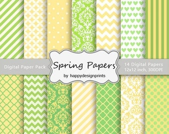"""Yellow & Lime Green Spring Summer Patterns Digital Paper Pack of 14, 300dpi, 12""""x12""""Instant Download Paper Scrapbooking, Invites,Cards JPG"""