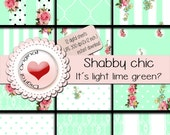Shabby chic  It is light lime green?-12 sheets -300 ppi - instant download