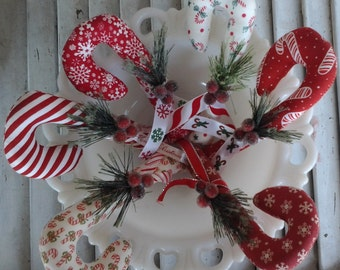 Primitive Christmas  Candy Cane Ornament- Bowl Filler