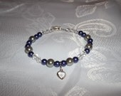 Color pearl and Clear Acrylic Crystal beaded fashion jewelry bracelet with heart charm