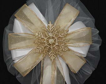 Gold Glitter Snowflake Wedding Pew Bows Church Aisle Ceremony Decorations