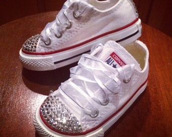 White Low Top Bling Converse
