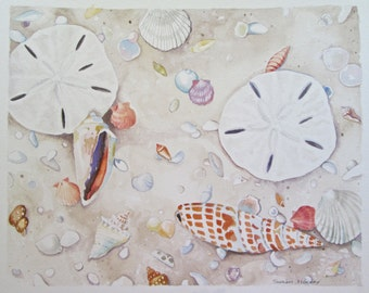 Jewels in the Sand #2- original watercolor painting of shells in the sand