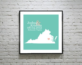 Virginia Wedding Gift Custom State Map Personalized Couple Art Personalized Virginia Map State Map Art Personalized
