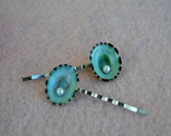 Aqua Limpet & Pearl Bobby Pins - Seashell Hair