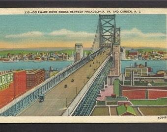 Vintage Linen Postcard  Delaware River Bridge Between Philadelphia, PA & Camden, NJ (397a)
