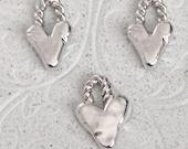 Pewter Stamping Blanks - Organic Rustic Heart w/ Bail (M182B)