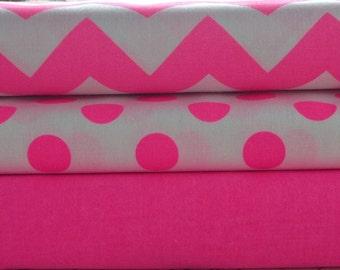 Medium Neon Pink Chevron Cotton Fabric by Riley Blake Designs 1/2 Yard Designer Cotton Fabric C320-101 NEON PINK