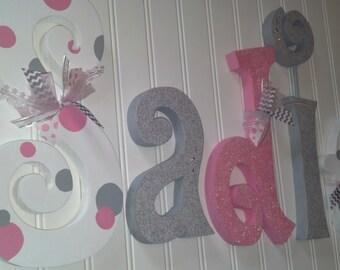 Hanging nursery letters, nursery letters, baby girl nursery letters, pink, white, grey, nursery decor, nursery wall letters