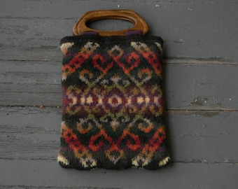 Felted hand-knit tapestry tote in brown green orange purple yellow--Peruvian inspired--wooden handles fabric lined interior pockets