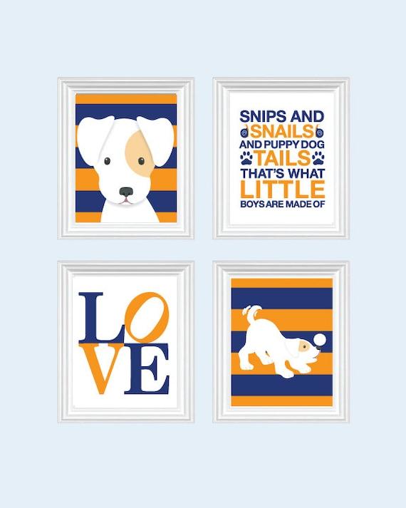Nursery prints blue : To dog nursery art - baby boy puppy prints, blue ...