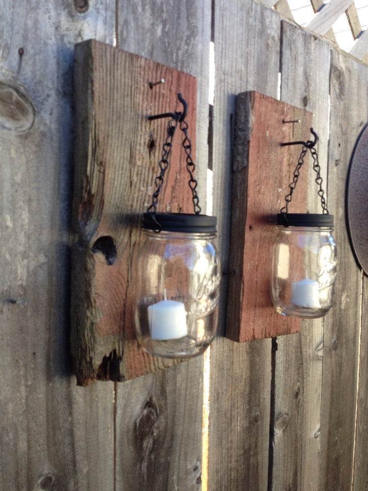 rustic barn wood mason jar sconces by thesalvagednail on etsy. Black Bedroom Furniture Sets. Home Design Ideas