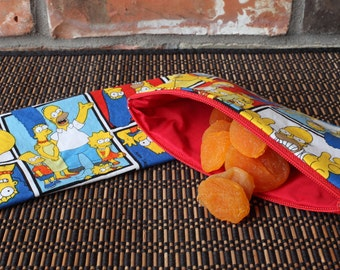Reusable Snack Bag made from The Simpsons fabric