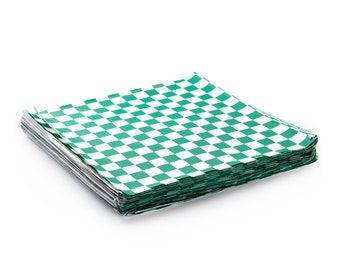 48 Green and White Checker Sandwich Wrap, Wax Paper Food Basket Liner, Picnic Food Papers, Deli Paper Sheets 12 x 12""