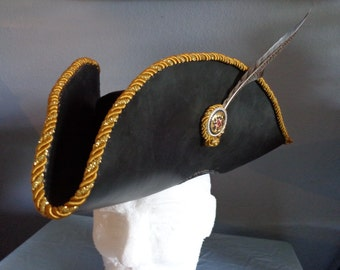 Tricorn Leather Hat With Gold Braided Edge, Silver and Gold Concho, Pheasant Feather and Lining by Artrix Leather and Fine Art