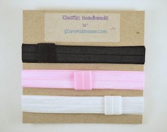 Soft Plain Elastic HEADBANDS or HAIR TIES - Baby Headband - Toddler Headband - Adult Headband