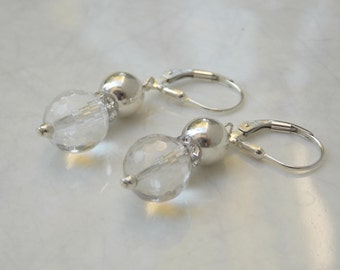 Sterling Silver Crystal Quartz Rhinestone Drop Dangle Earrings