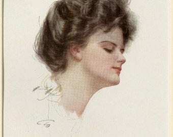1908 Antique Fashion Print by Harrison Fisher  Portrait of Beautiful Woman American Edwardian Era
