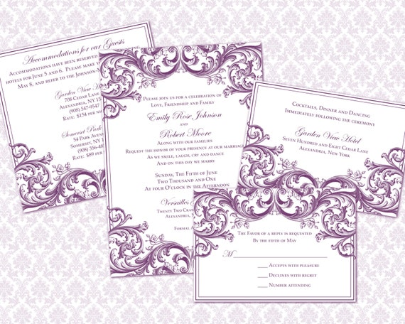 diy wedding invitation template set 5x7 by weddingsbyjaniev. Black Bedroom Furniture Sets. Home Design Ideas
