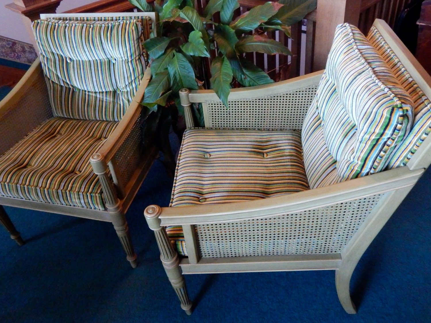 Pair Of Ethan Allen Casual Chairs With Wicker Sides And
