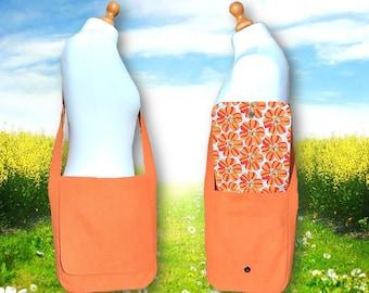 Orange with Flowers Messenger Bag