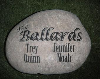 "Personalized Family Stone Sandblast Engraved Family Names River Rock 10"" x 12"""