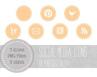 Peach Blog Buttons, Peach Social Media Icons, Cute Social Media Buttons, Peach Blog Icons, Website Icons