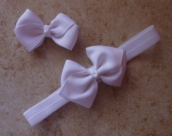 Pink or White Headband and Bow Set