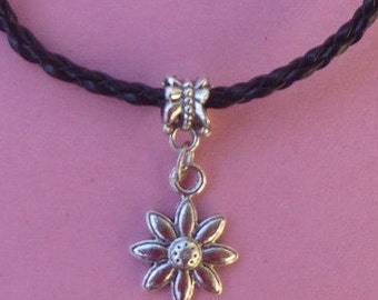 Clearance ~ Magnetic Closure Black Braided Bracelet with Daisy Charm