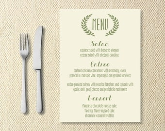 Printable Grecian Wedding Menu