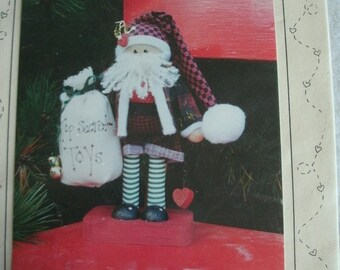 "Top-Secret Santa - 8 1/2"" Tall Santa Pattern from Panellapee 'N Friends - Blossoms 'n Bows by Danella Cabantoy NIP 1993"